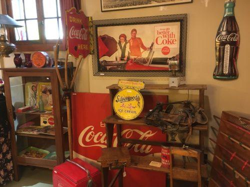 Coca Cola Vintage flanges etc coolers , door pushes, toys ,trays , bottles , cardboard signs Etc.