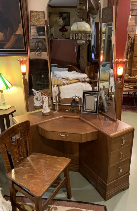 Art Deco Oak Dressing Table Suite Ca 1930s