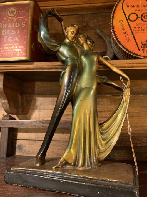 Art Deco Chalk-ware Dancers statue 1920s- 30s.