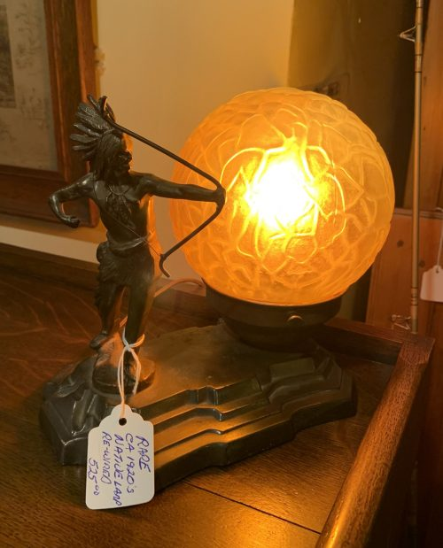 Native Art Deco Bronze Lamp 1920's. All original and has been re-wired.